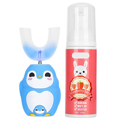 U Shaped Head Toothbrush, Soft Silica Gel Brush Head Children Automatic Sonic Electronic Toothbrush Cartoon Toothbrush Kids Toddlers (Mousse 60ml)(Blue)
