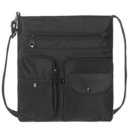 Bolsa tiracolo feminina com vários bolsos, bolsa de ombro à prova d'água, bolsa de nylon para viagem e bolsa de trabalho leve, Preto, Large