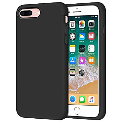 "iPhone 8 Plus Case, iPhone 7 Plus Case, Anuck Soft Silicone Gel Rubber Bumper Case Microfiber Lining Hard Shell Shockproof Full-Body Protective Case Cover for iPhone 7 Plus /8 Plus 5.5"" - T Black"