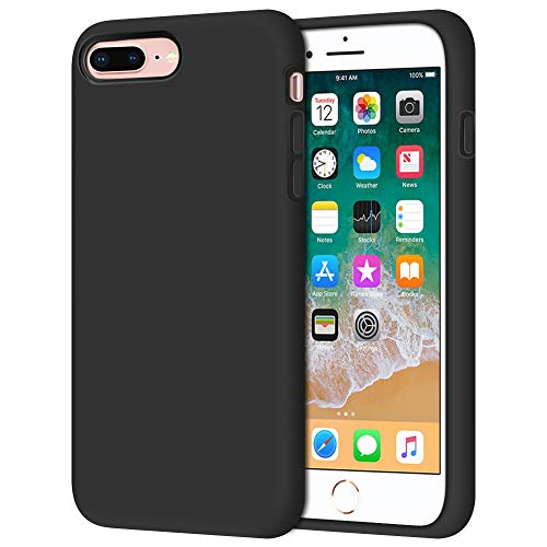 Anuck Case for iPhone 8 Plus Case, for iPhone 7 Plus Case 5.5 inch, Soft Silicone Gel Rubber Bumper Case Microfiber Lining Hard Shell Shockproof Full-Body Protective Case Cover - T Black