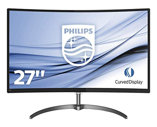 "Philips 278E8QJAB Gaming Monitor Curvo LED da 27"", Freesync 75 Hz, Full HD 1920 x 1080, Pannello VA, 4 ms, HDMI, Display Port, VGA, Casse Audio Integrate, Flicker Free, Sottile, Ultra Wide Color, Nero"