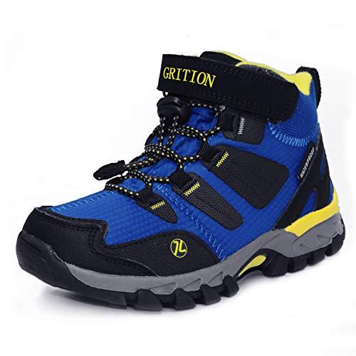 GRITION Mid Kids Outdoorowe buty trekkingowe dla chłopców dziewcząt haczyki i pętelki zimowe buty do chodzenia buty szkolne wodoodporne antypoślizgowe buty wspinaczkowe unisex dzieci rozmiar EU 28-35, - Królewski błękit - 16 EU