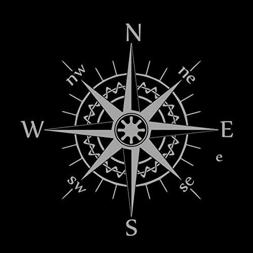 greestick Aufkleber Kompass 16x16cm Silber by Sticker Windrose Kompassrose Wanderlust Decal Vinyl