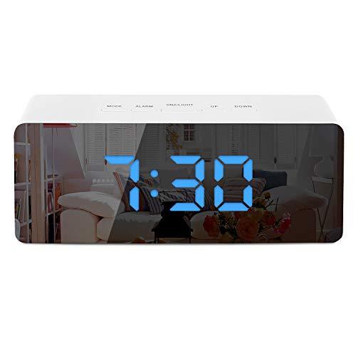TWFRIC Nachttisch Wecker, Digitale Wecker Digitale Uhr mit Temperatur/Snooze/Einstellbar Helligkeit/ 12/24H Modus/USB Kabel LED Spiegel Uhr für Schlafzimmer/Büro/Küche