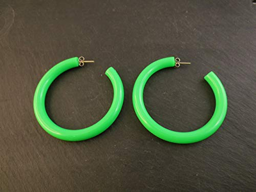 Ohrstecker Ohrringe Creolen Grün Neon Vintage Retro 80er Jahre