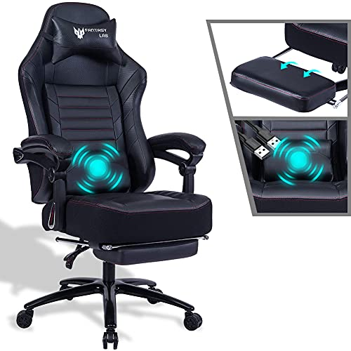 FANTASYLAB Racing Gaming Chair with Footrest Massage Computer Game Chair 400lb Reclining Gaming Chair Ergonomic Desk Chair Racing Recliner Chairs Leather Memory Foam Office Chair