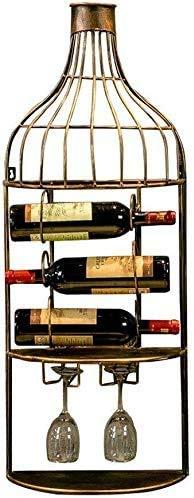 COLiJOL Estante de Vino Estante de Vino Soporte de Botella de Vino Montado en la Pared Soporte de Vino Colgante para Botellas de Vino Vasos de Copas Elegante Alenamiento de Madera
