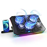 Vencci 2021 Upgrade Laptop Cooler Pad RGB Lights with 6 Cooling Fans for 15.6-17.3 Inch Laptops, 7 Height Stands, 10 Modes, 2 USB Ports in Right Side, Desk or Lap Use