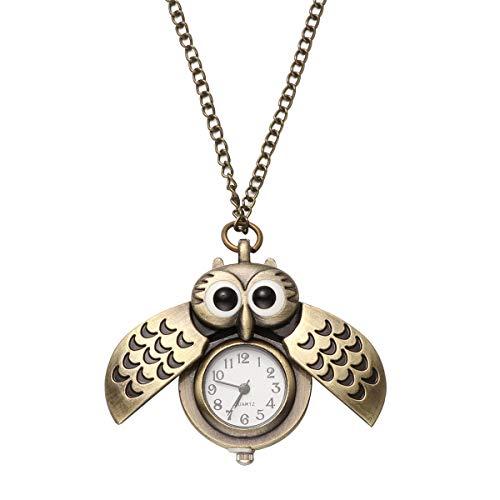 UKCOCO Retro Eulen-Taschenuhr mit Kette Vintage Quarz Analog Anhänger Halskette Uhr für Mädchen Kinder Geschenk