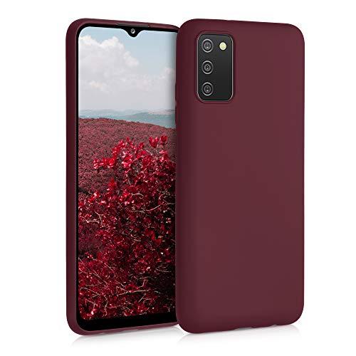 kwmobile Funda Compatible con Samsung Galaxy A02s - Carcasa de TPU Silicona - Protector Trasero en Rojo Vino