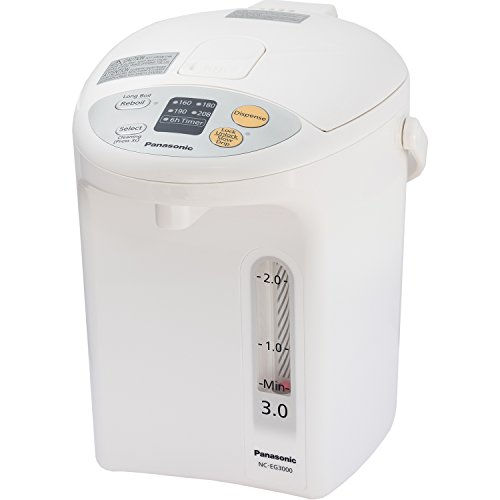 Panasonic RA41660 Electric Thermo Pot Water Boiler Dispenser NC-EG3000, Slow-Drip Mode for Coffee, Ideal for Tea, Hot Cocoa, Soups and Baby Food, Four TEM, 3.2 quarts, White
