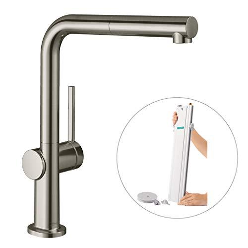 hansgrohe Küchenarmatur Talis M54 (Wasserhahn Küche mit Schlauchbox, 360° schwenkbar, ausziehbarer Auslauf, hoher Komfort-Auslauf 270mm, Standardanschlüsse) Edelstahl Finish
