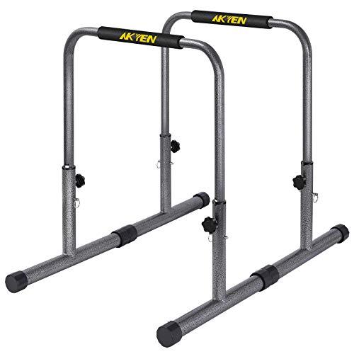 AKYEN Dip Station Dip Bar Adjustable Workout Parallel Bars with 300LBS Capacity