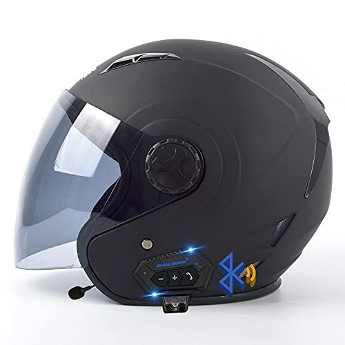 Bluetooth Integrado Medio Abierto, Casco De Moto con Visera, Casco Moto Jet Cubierto Casco De Seguridad, ECE Homologado, Casco De Motocicleta para Hombres Y Mujeres