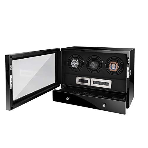 zyy - Devanadera de reloj con cajón de almacenamiento, retroiluminación LED y mando a distancia, almohada ajustable suave, caja de almacenamiento automática de 3 relojes