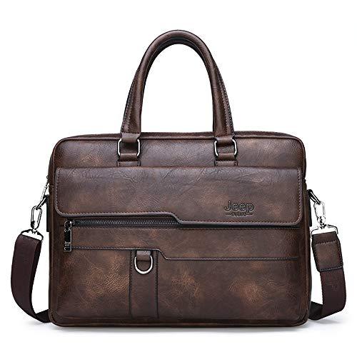 Multifunktionale Herrenhandtasche, Aktentasche Leder-Schulter-Umhängetaschen, wasserdichter Oxford-Tuch Laptop Büro-Handtaschen für Männer Business-Arbeit,Braun