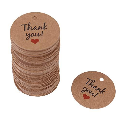 Cikonielf Etichette Regalo in Carta da 100 Pezzi Etichette Kraft Etichette Rotonde appese Etichette Regalo in Legno con spago per la Decorazione Natalizia appesa al Matrimonio(Thank You)