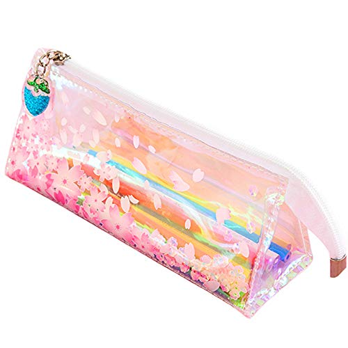 Funny live Beautiful Cherry Blossom Sequins Drift Pencil Bags Zipper Pencil Case Storage Organizer PU Makeup Storage Bags,Transparent Pencil Case with Quicksand Oil Strawberry Zipper Head