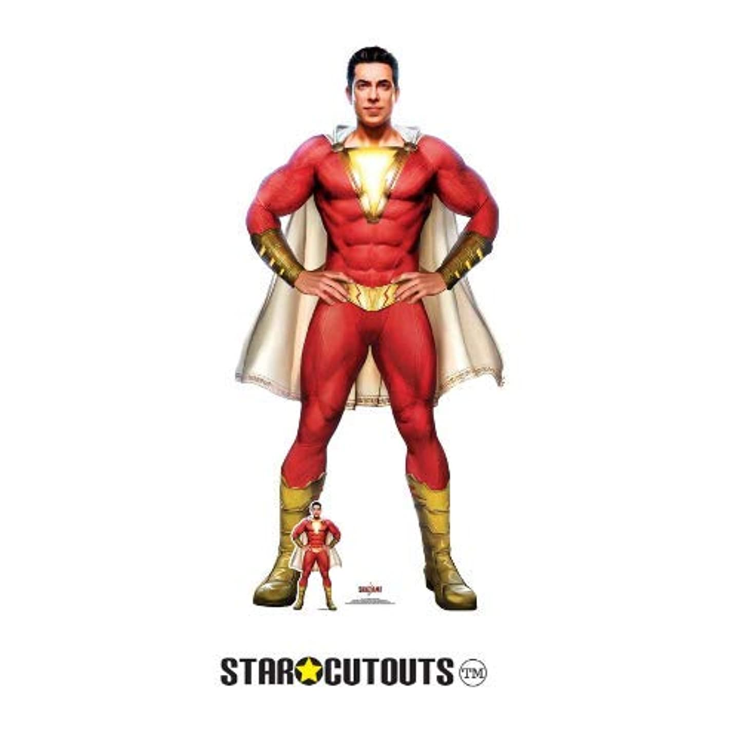 Star Cutouts SC1337 Shazam Cape Stylised (Zachary Levi) Lifesize Cardboard Cutout 190cm Tall 104cm Wide, Multicolour