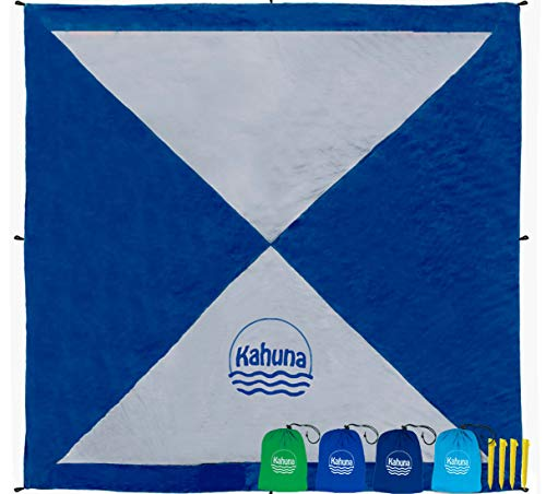 Kahuna Large Beach Blanket - Compact Sand Free Beach Blanket, Beach Sheet, Picnic Blanket. Made from Strong Parachute Nylon. Includes Sand Anchor Pockets, Ground Stakes & Zippered Pocket - Blue/Grey