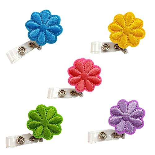 STOBOK - Carrete de carrete retráctil de 5 piezas para regalo de Navidad con carrete para tarjetas de identificación con nombre de flor para mujer enfermera