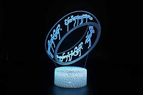 Kreative Herr Der Ringe 3D-Illusion-Licht, 7 Farben-Steigung-Nachtlicht Led Sprung Smart Touch Tischlampe, Nachttischlampe