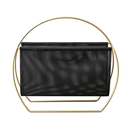 CENPEN Estante, baño moderno canasta de almacenamiento en rack rack de piso de hierro forjado cafetería estante sofá archivo de información de escritorio estante (Color: NEGRO, tamaño: 15 * 40 * 45cm)