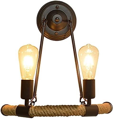 WXUGZ Lámpara de Pared Industrial Cuerda de cáñamo de Doble Cabeza Lámpara de Pared Vintage Retro Negra Enchufe de Madera E27 Iluminación de Pared de Punto de Pared, para Cocina, Restaurante