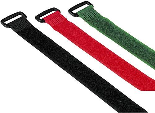 Hama Klett Kabelbinder, wiederverschließbar (Kabelbinder mit Klettverschluss zum Wiederverwenden, flexibles Kabelmanagement zur Fixierung von Kabeln Schläuchen und Rohren, 250 mm, 9 Stück) farbig