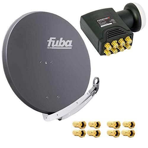 Fuba DAA 850 A Satanlage Set Aluminium Satellitenschüssel in Anthrazit HDTV 3D 4K Deluxe Octo LNB 1 Sat für 8 Teilnehmer