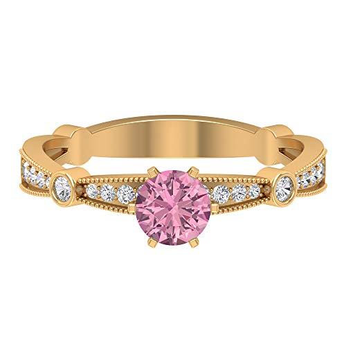 Rosec Jewels 10 quilates oro amarillo redonda round-brilliant-shape H-I Pink Diamond Tourmaline
