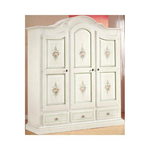Armadio, stile classico, in legno massello e mdf con rifinitura in bianco lucido con decori - Mis. 185 x 62 x 220