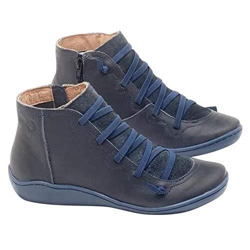 Soulitem Leren winterlaarzen voor dames, met platte hak, voor herfst en wandelschoenen
