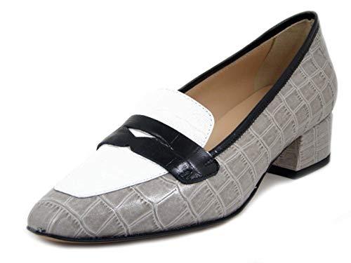 OSVALDO PERICOLI, Mocasín para mujer de piel con estampado de coco, beige, blanco y negro, tacón bajo 3 cm, fabricado en Italia Beige Size: 39 EU