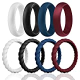 ROQ Silicone Wedding Ring for Women, Affordable Braided Stackable Silicone Rubber Wedding Bands - Medical Grade Silicone - Bordeaux, Navy Blue, White, Black Colors - Size 9