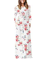 VIISHOW Women's Long Sleeve Floral Print Scoop Neck Loose Plain Maxi Dresses Casual Long Dresses with Pockets(Floral White,X-Large)