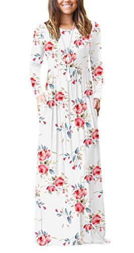 VIISHOW Women's Long Sleeve Floral Print Scoop Neck Loose Plain Maxi Dresses Casual Long Dresses with Pockets(Floral White,3X-Large) (Apparel)