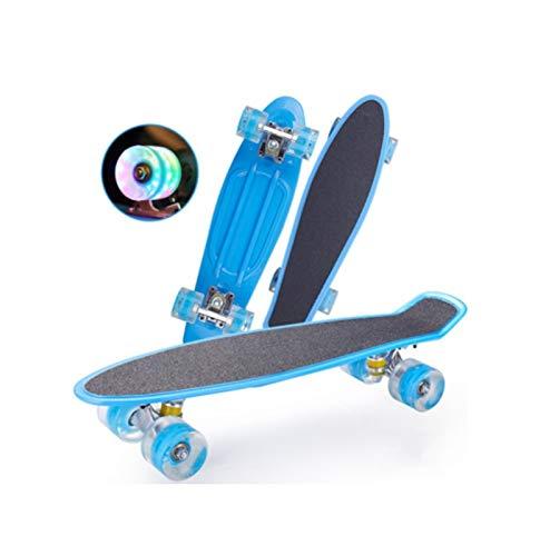 mrjg Longboard 22 Pulgadas de patineta for niños Tablero de Scooter con Pegatina Única Rocker Mini Cruiser Tablero de Pescado Patines de Caramelo Longboard Adulto (Color : A Blue)