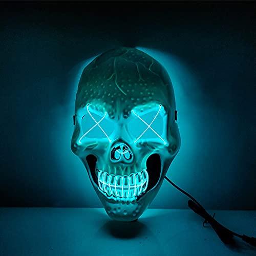 Mscara LED de purga de Halloween, mscara iluminada, para disfraz de cosplay, fiesta, Navidad, carnaval, brilla en la oscuridad, azul hielo