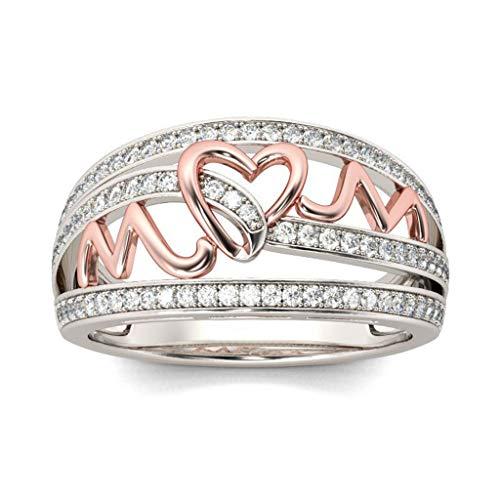 Elegant Rhinestone Heart Ring Simplicity Alloy Jewellery Accessories Hollow Letter Design Ring Personality Gift for Woman Daughter Birthday Valentine's Day...