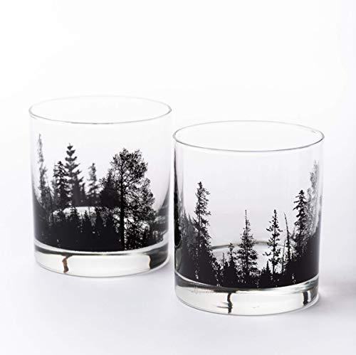 Whiskey Glasses by Black Lantern – Handmade Whiskey Glass Set and Bar Glasses – Forest Landscape (Set of Two 11oz. Glasses)