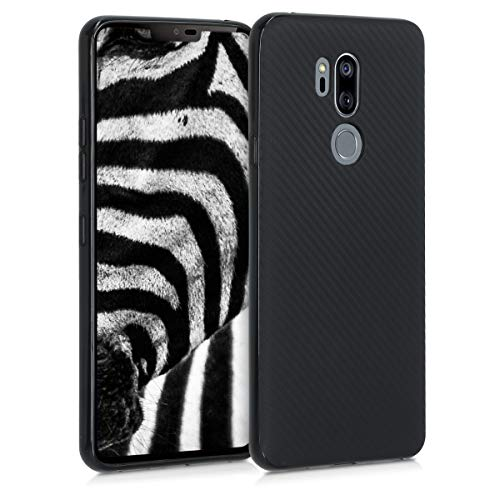 kwmobile Hülle kompatibel mit LG G7 ThinQ/Fit/One - Handyhülle - Handy Hülle Metallic Carbon dünn Schwarz