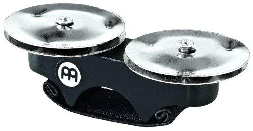 Meinl Percussion FJS1S-BK Finger Jingles mit Stahlschellen, schwarz Cajon Add-On