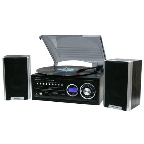 Roadstar HIF-8888TUMPN Stereo Retro Design Anlage (Plattenspieler, CD/MP3, USB Kartenslot, Lautsprecher,Encoding-Funktion) schwarz