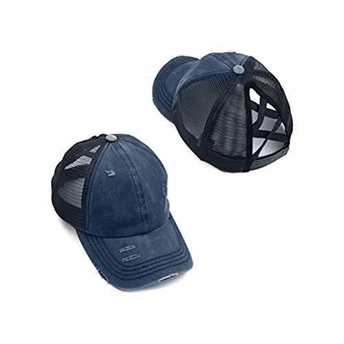 Pywee Gorra de béisbol para coleta de caballo, ajustable, para exteriores, de malla, para mujeres y hombres, con purpurina, para colas de caballo, inserto de malla.