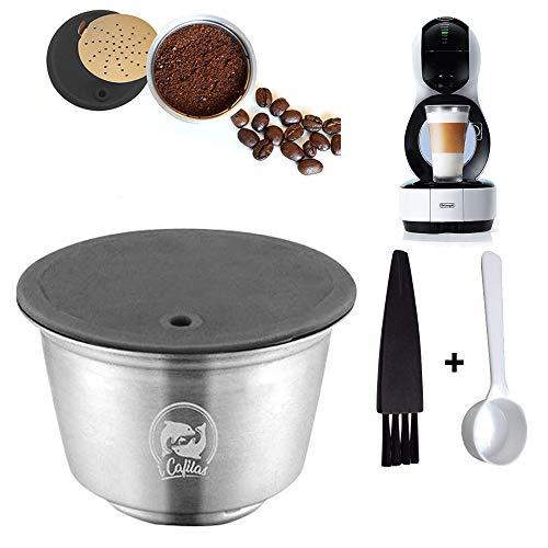 Konesky Caffè Capsule Riutilizzabili, Filtro per Cialde di Caffè Ricaricabile in Metallo in Acciaio Inossidabile con Cucchiaio a Pennello per Macchina da Caffè Dolce Gusto Lumio Edg (Tazza capsula)