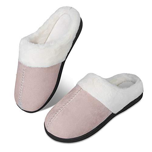 Pantuflas de invierno para hombre y mujer, con espuma viscoelástica, cómodas, antideslizantes, para interior y exterior(szlb.rosado,42/43 EU)