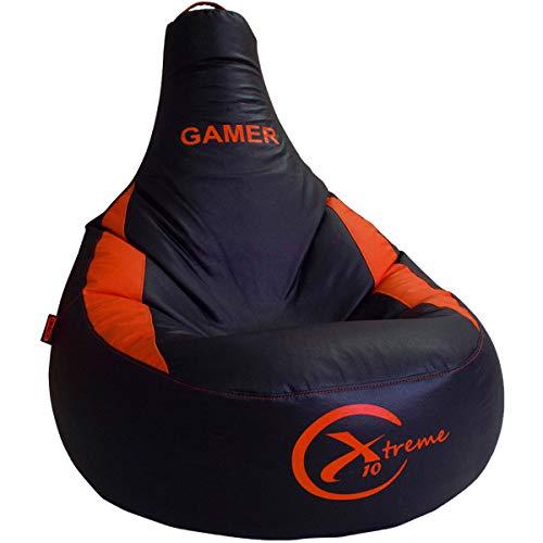 loconfort Nuevo Puff Gamer X10 Extreme - Puff XL - Polipiel Rojo - Especial Juegos Playstation, Xbox, Wii. (XL, Naranja)
