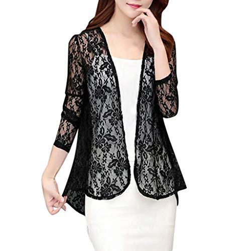 FRAUIT dames kant kort gebreid vest elegant dunne mantel mesh doorschijnend Sunproof blouse kan worden gedragen met een jurk shirt voor dagelijks vrije tijd party kleding blouse tops outwear