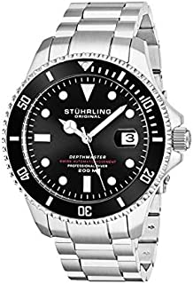 Stuhrling Original Men's Black Dial Stainless Steel Band Watch - 883.01, Silver Band, Analog Display